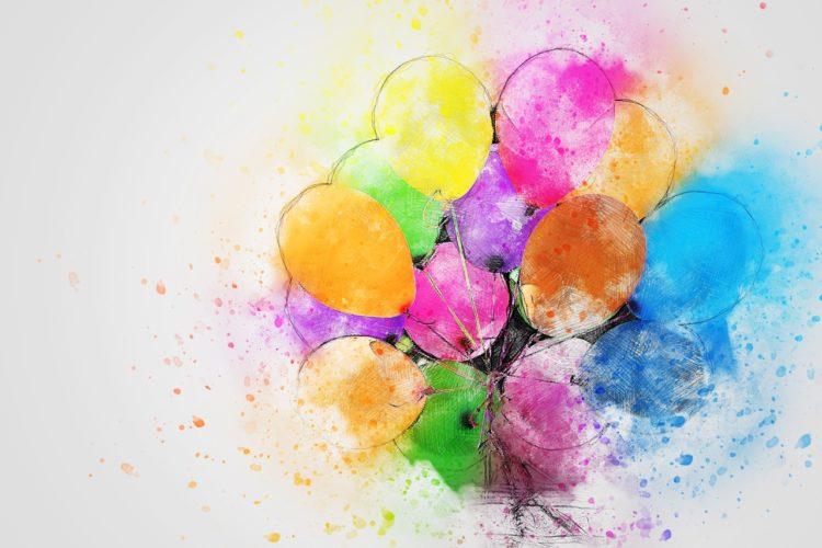 Bunte Luftballons verschicken