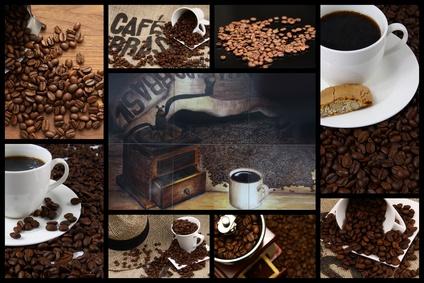 Collage mit Kaffeebohnen, Kaffee und Genuss