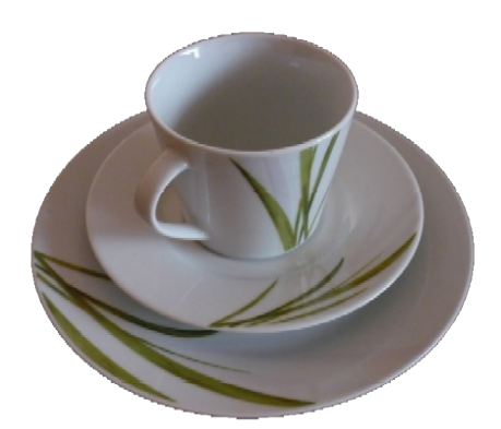 Kaffee-Service- Aveda - schlichtes weiß mit zarten Grashalmen verziert