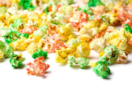 Halloween Popcorn in rot, grün, blau...