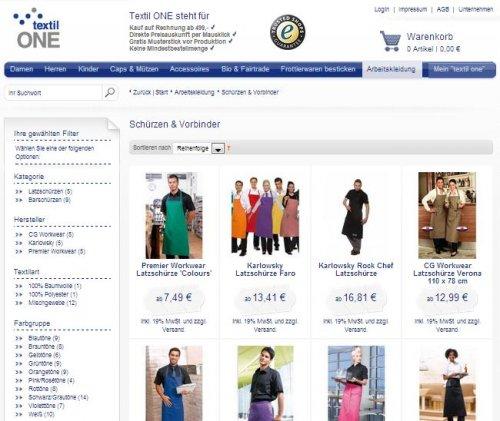 Webseite als Screen von Textil One