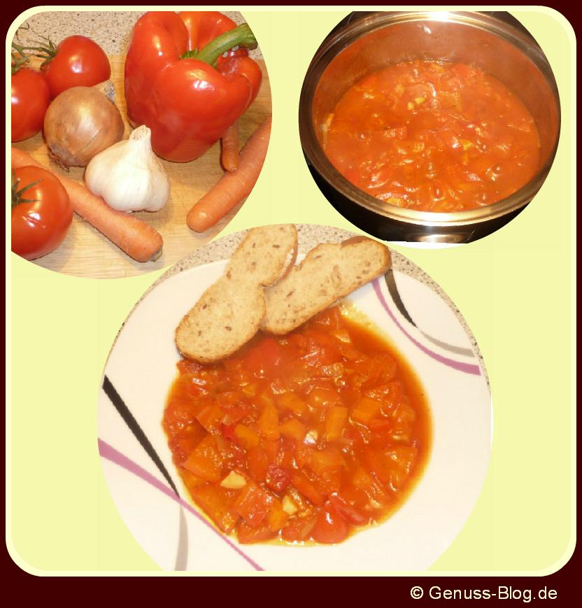 Paprika Möhren Eintopf mit Chili - pikant und süß