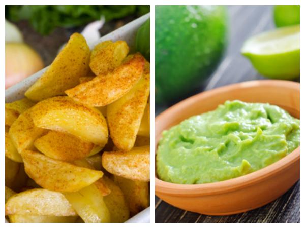 Kartoffel Spalten und Avocadocreme