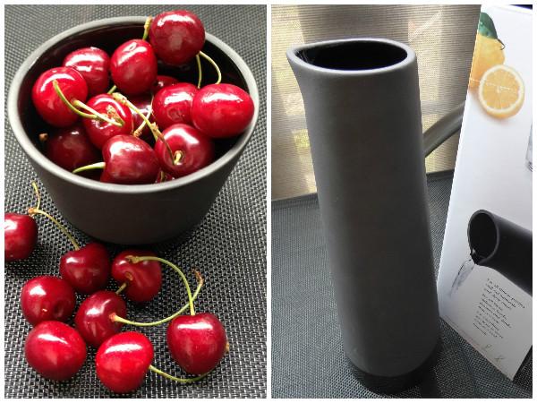 Magisso Cool-ID Keramik Geschirr: Karaffe + Schale mit Kirschen gefüllt